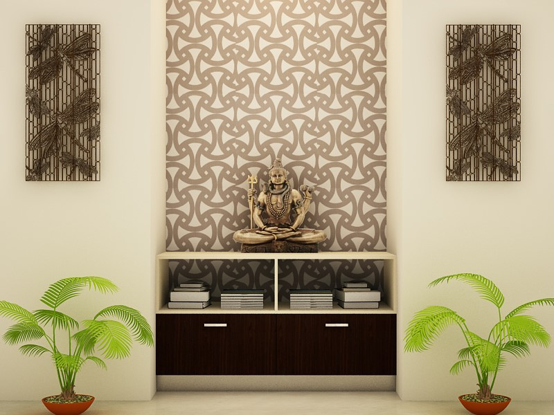 Open Puja Unit Is In Trend In Indian Homes Nowadays. Due To Lack Of Space,  Homes Incorporate An Open Puja Unit In The Living Room Area Only. Part 45