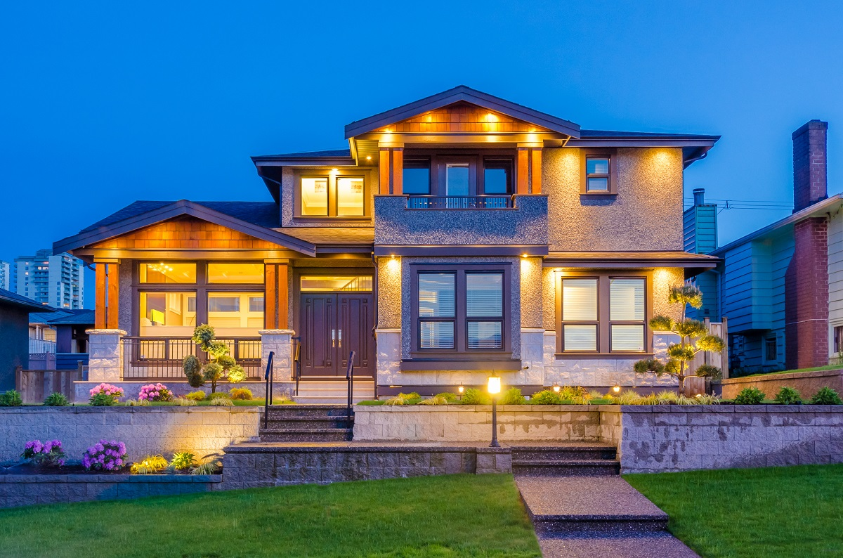 3-shutterstock_139225268- Luxury house at night in Vancouver, Canada.