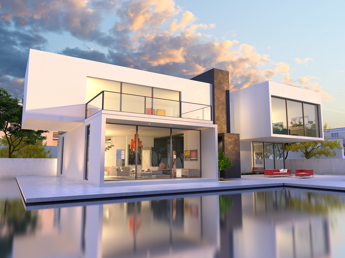 4-shutterstock_262830776- 3D rendering of Impressive villa with pool, late afternoon