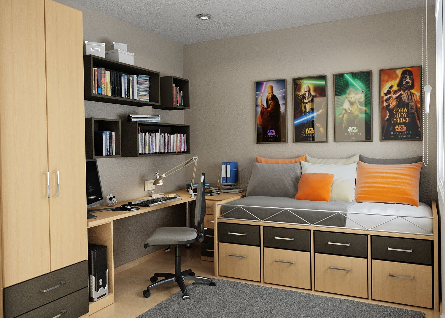 Modern-Home-Office-Combo-with-Bedroom