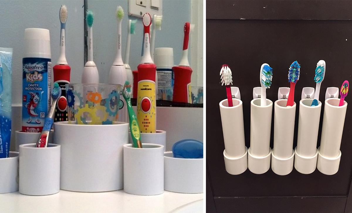 14.pvc pipe toothbrush holder