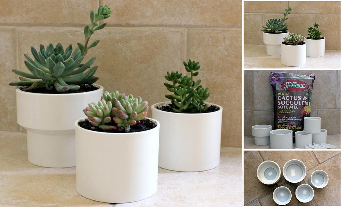 15.pvc pipe succulent planter