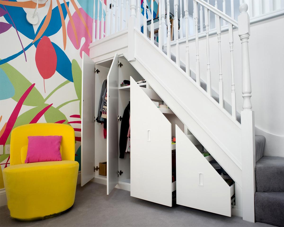 Storage below stairs