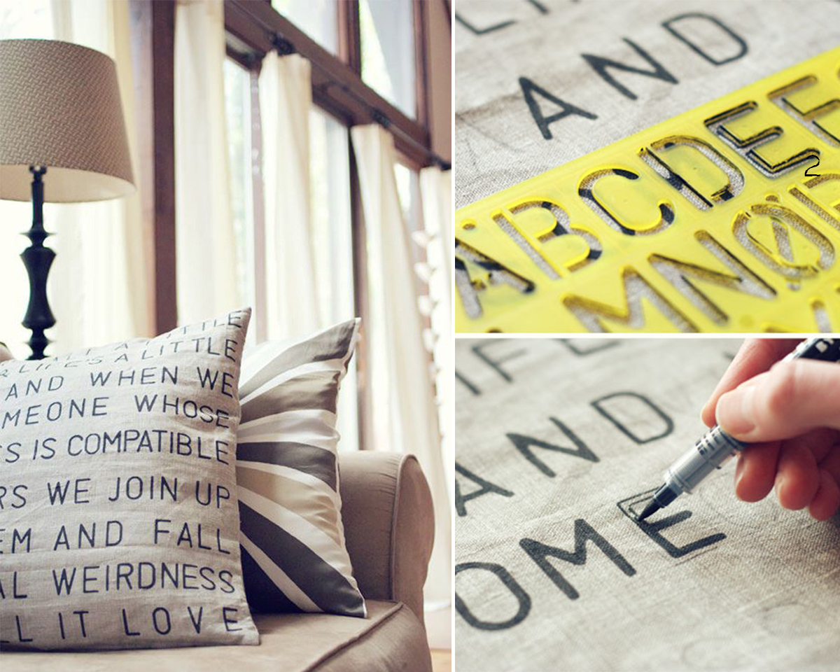 12.DIY Stencil Text on Fabric.witandwhistle.com