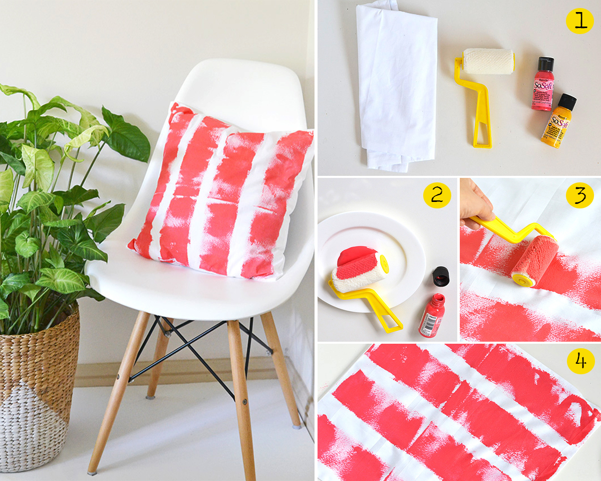 3.DIY PAINTED STRIPE CUSHION COVER. makeandtell.com