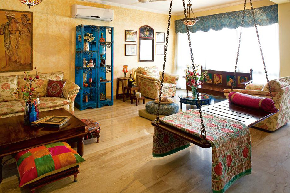 Traditional indian living room designs for Indian ethnic living room designs