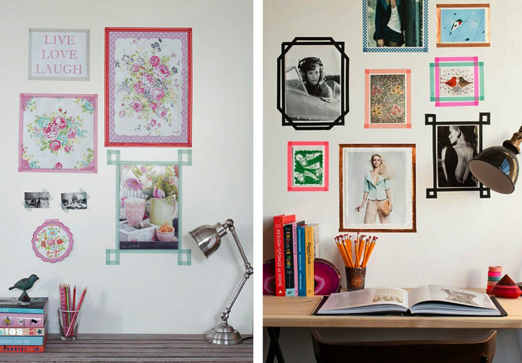 washi tape gallery wall