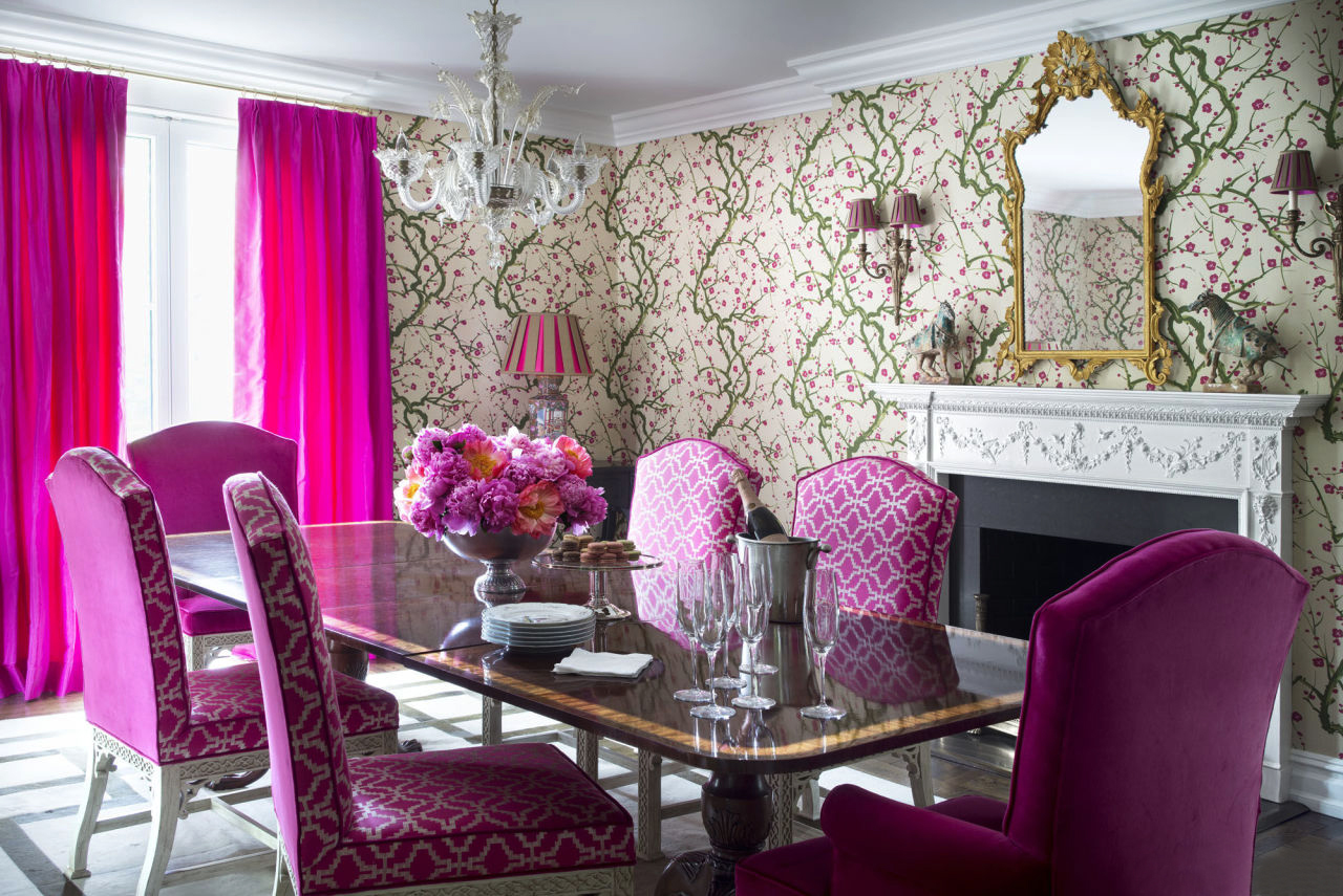 Island Paradise desk with Pink Yarrow curtains.