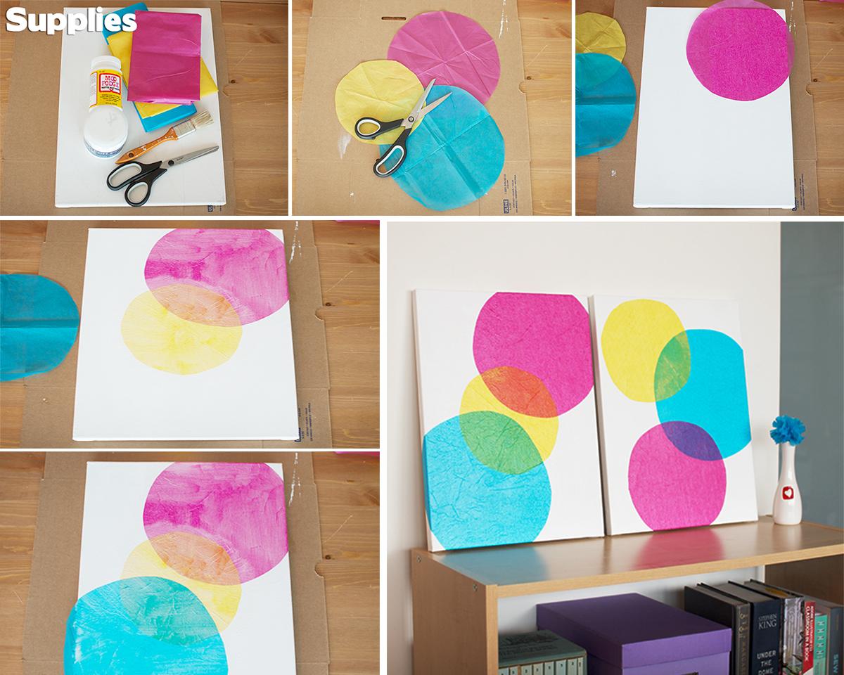 15 creative diy wall art ideas that anyone can do homebliss for Creative tissue paper ideas