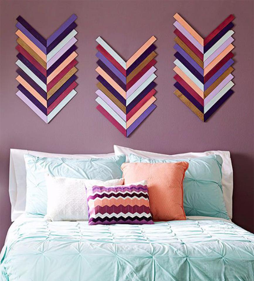 15 creative diy wall art ideas that anyone can do homebliss for Diy chevron wall art