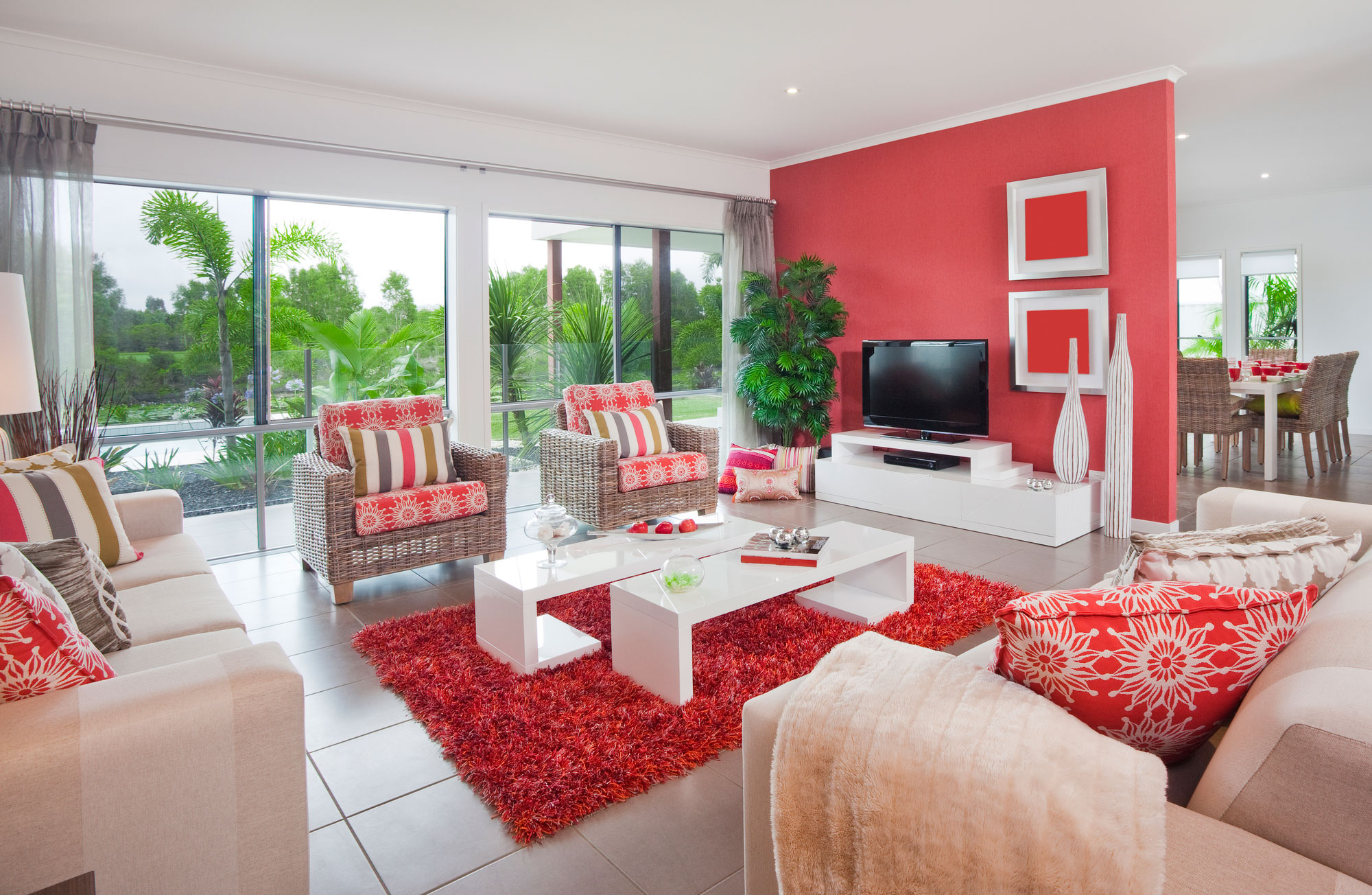 Red and white living room bright interior color for Mexican inspired living room ideas
