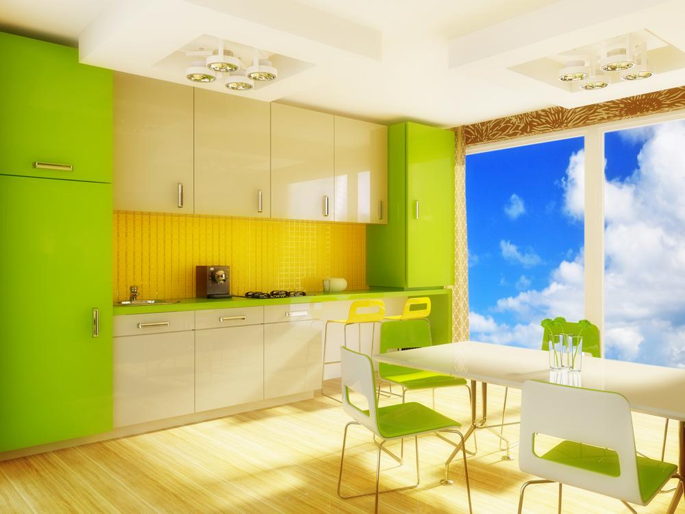 Кухня в зелено голубом цвете