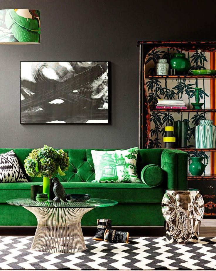 9 Ideas To Go Green And Grey With Your Living Room