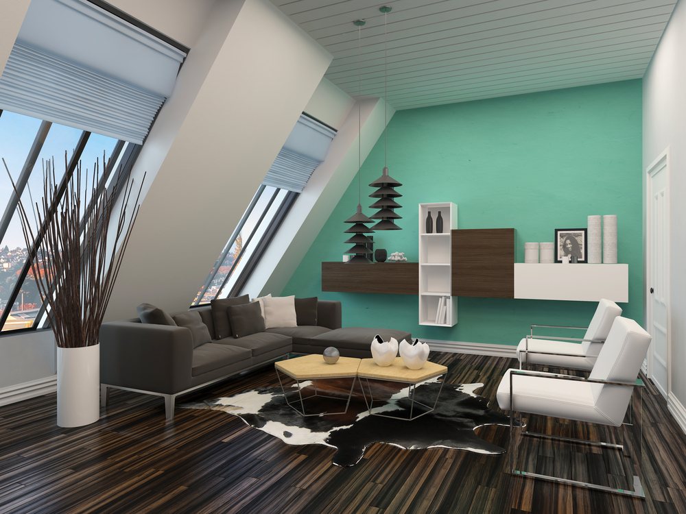 modern living room interior with sloping windows and ceiling and a green accent wall with parquet