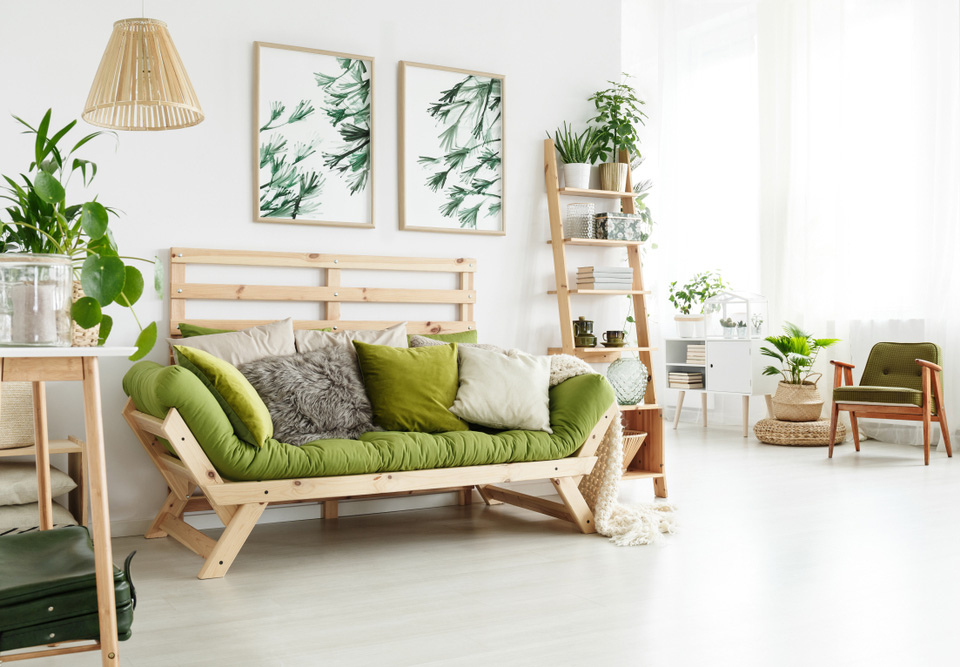 Green Colored Living Room