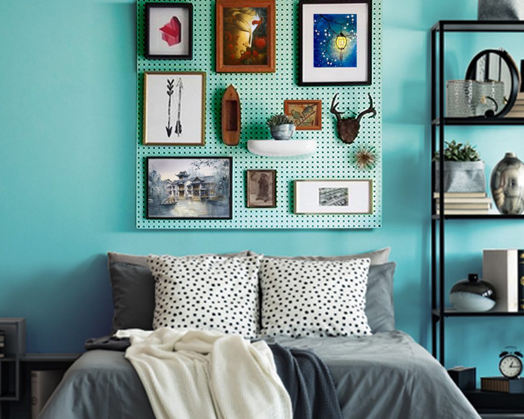 Pegboard Storage Ideas for bedroom headboard