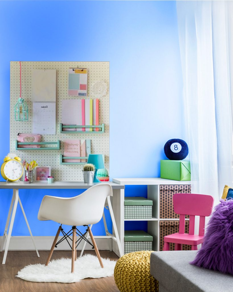 Home Office with pegboard storage