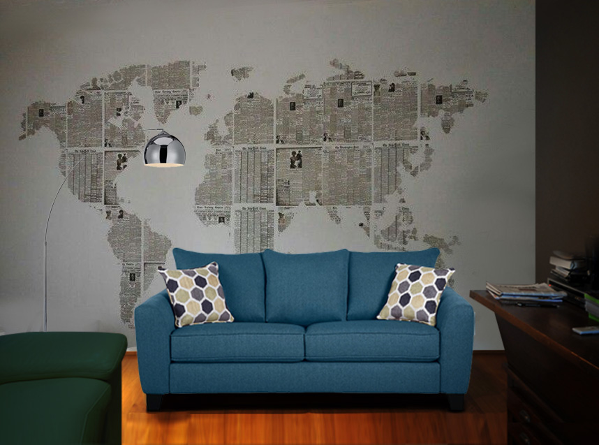 Newspaper Wall Art Map