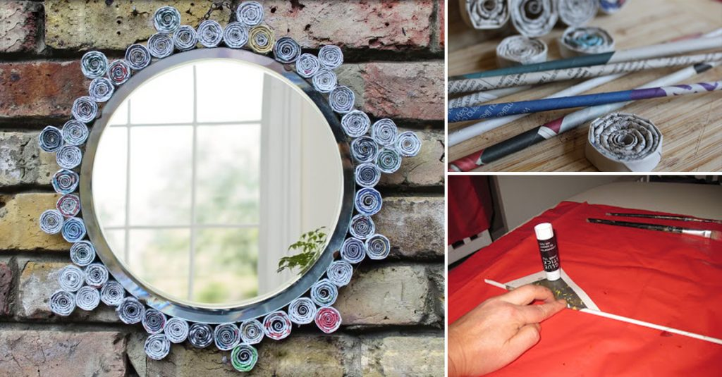 DIY newspaper mirror frame