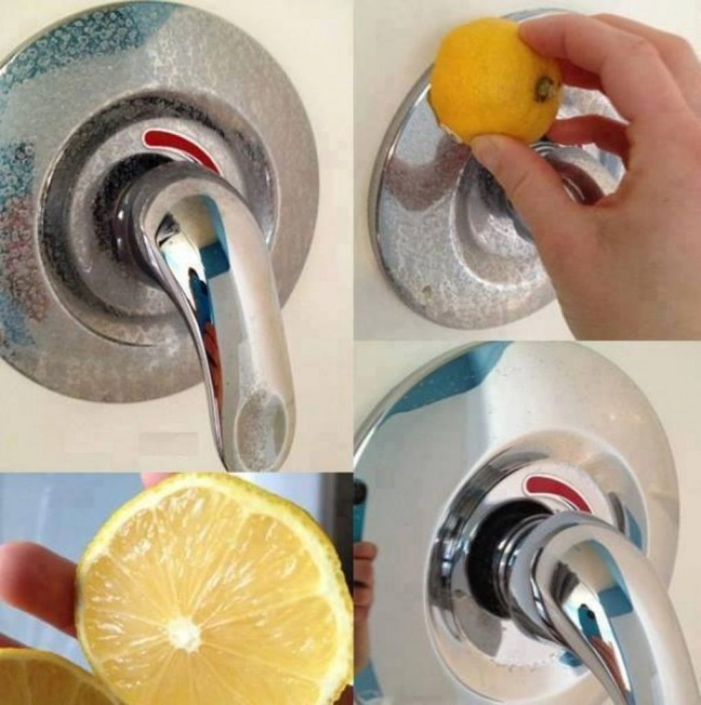 cleaning faucet with lemon