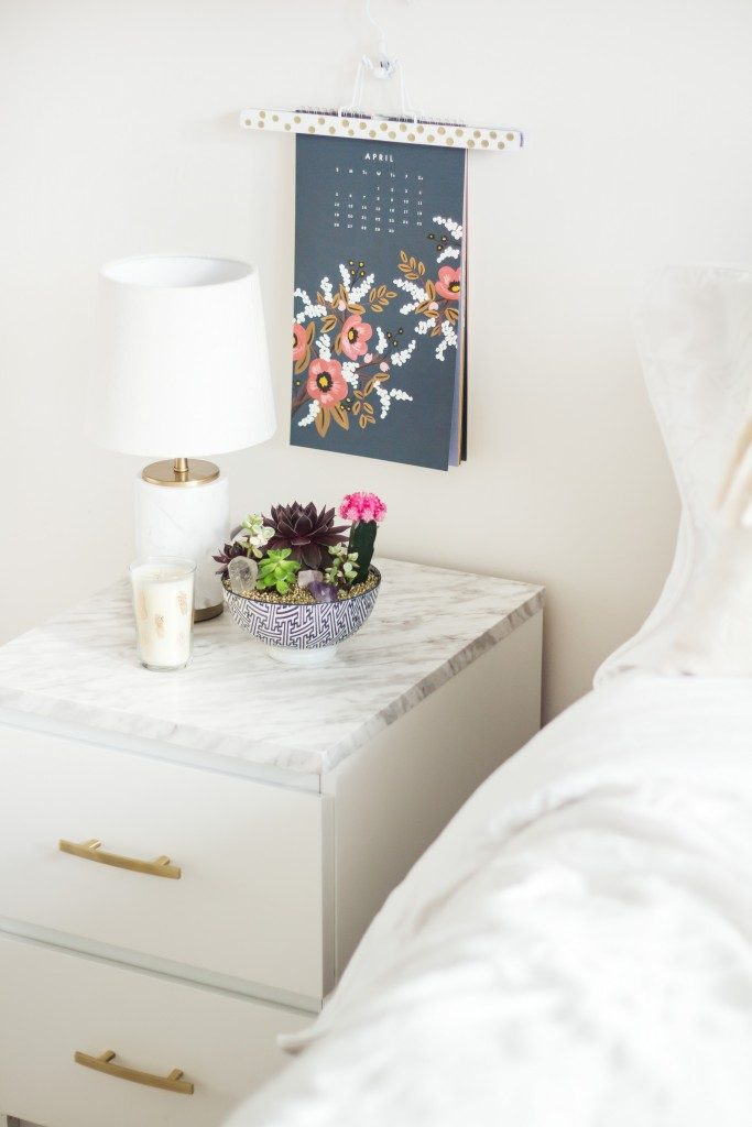 Bedside Table With Marble Contact Paper