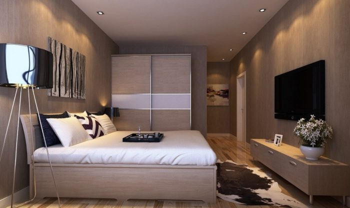 Master Bedroom Interior Design With Tv Wall And Wardrobe Bedroom throughout size 1216 X 723 - Master Bedroom