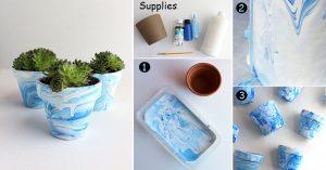 DIY Marbled Planter