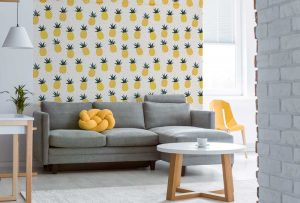 6 Ways to Decorate with Pineapple Print - As Wallpaper