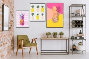 6 Ways to Decorate with Pineapple Print - Gallery Wall