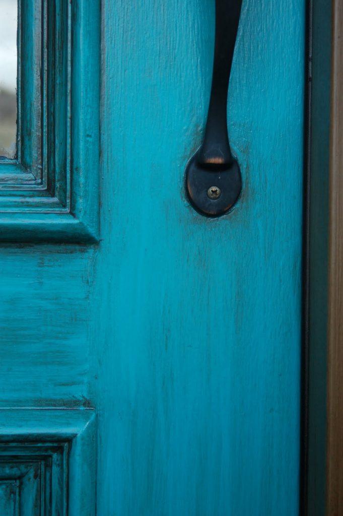 Bold Bluish-Green Front Door