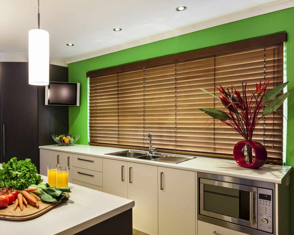 6 Kitchen Window Treatment Ideas You Will Love - Faux Wood Blinds