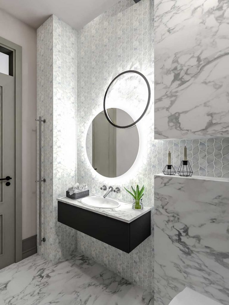 9 Ingenious Tips To Give Your Bathroom A Glamorous Face-Lift - Install an ornate mirror