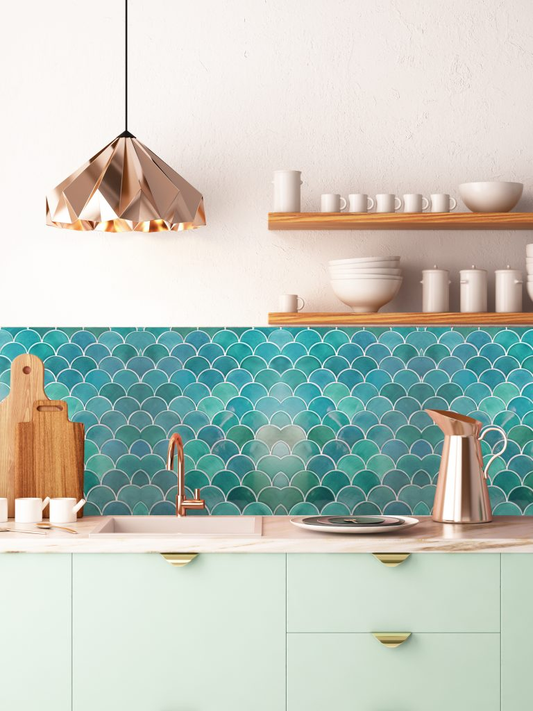 Fish-scale Design Kitchen Backsplash
