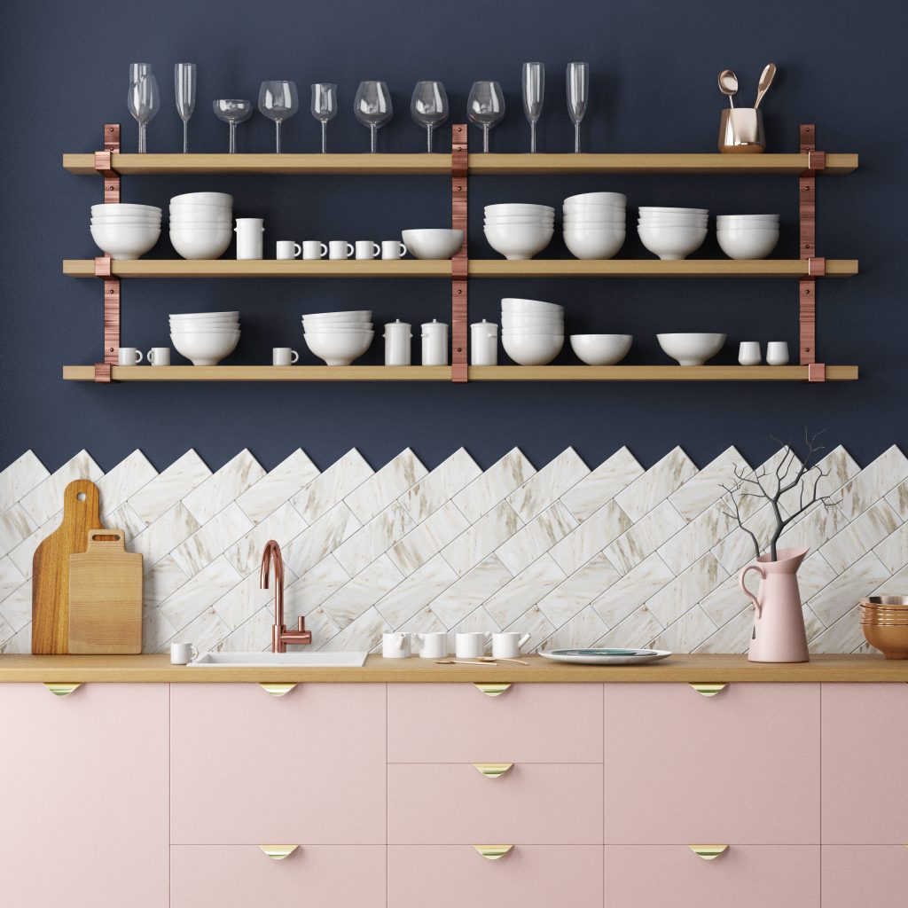 DIY Sticker Tile Kitchen Backsplash